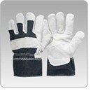 Leather Palmed Cow Split Glove - Denim Back