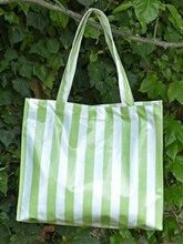 OILCLOTH RECTANGULAR SHOPPING TOTE - GREEN AND WHITE STRIPED DESIGN