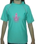 ATLANTIS GREEN with PINK SURFBOARD SWIM SHIRT - YOUTH