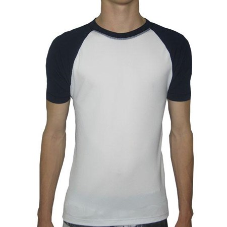 CREW NECK SWIM SHIRT - WHITE with NAVY SLEEVES  2XL - 3XL