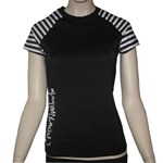 SALE - CAP SLEEVE SWIM SHIRT - BLACK with STRIPE - SMALL