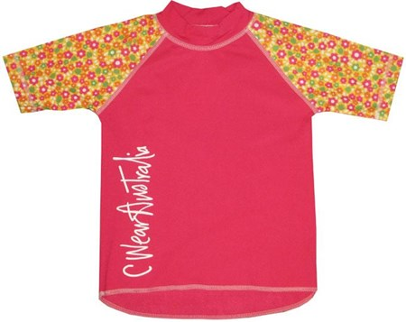 POP PINK SWIM SHIRT with FLORAL SLEEVES - JUNIOR