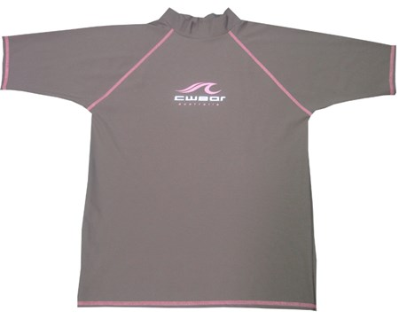 SALE - ADULT CHOCOLATE with PINK LOGO  SWIM SHIRT - XS