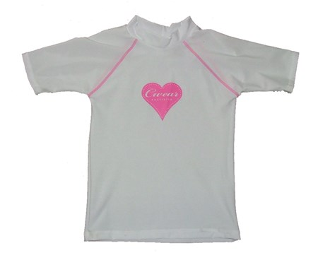 SALE - WHITE SWIM SHIRT with PINK HEART - SIZE 2