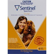 Sentinel Spectrum Dogs 25-50lbs (11-22kg) - 6 Chewables