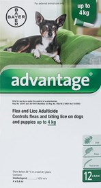 Advantage Green Dogs Under 8.8lbs (4kg) - 12 Pack