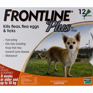 Frontline Plus Small Dogs Under 22lbs (10kg) - 12 Pipettes