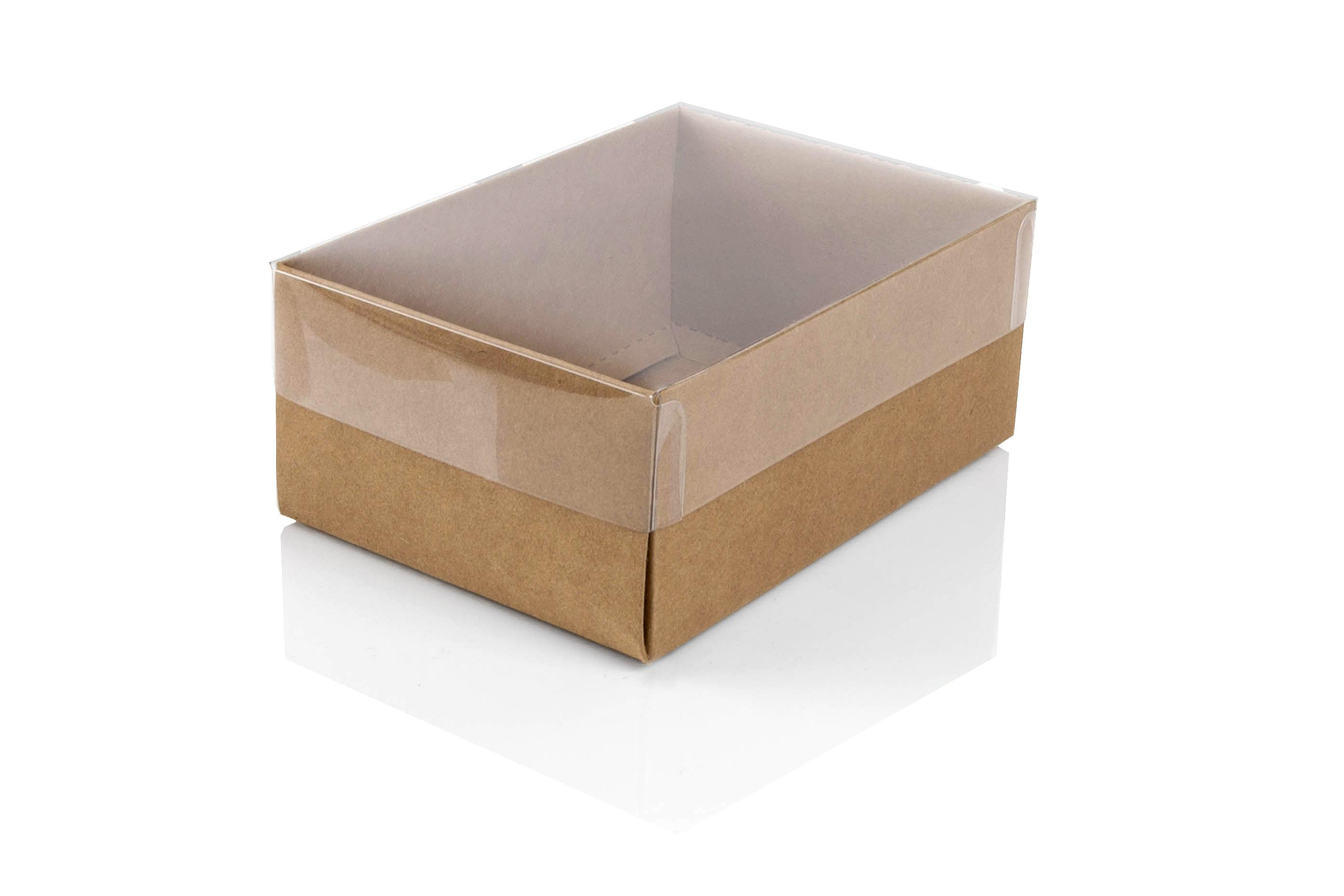 Small Kraft Flat-packed recycled gift box with clear lid