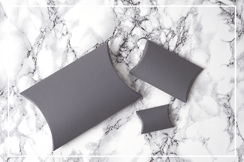 They're Here! | Grey Pillow Gift Boxes