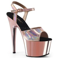 PLEASER ADORE 709 HGCH Rose Gold Chrome Hologram Top 7 Inch Heels