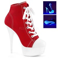 Pleaser DELIGHT 600 SK 02 Red 6 inch Lace Up Front Canvas Sneaker Heels