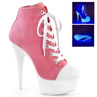 Pleaser DELIGHT 600 SK 02 Pink 6 inch Lace Up Front Canvas Sneaker