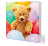 Bear surrounded by Balloons