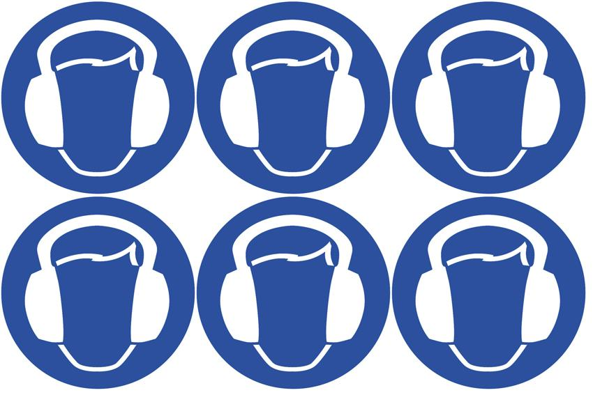 Safety Lables Ear Protection Symbol 24 Pack 6 To Sheet 75mm
