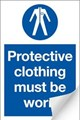 Protective Clothing Must be Worn Sign LARGE - 400 x 600Hmm - Self Adhesive Vinyl - [AS-MA40-SAV]