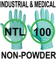 Ansell 92-600 Nitrile Touch N Tuff Green Powder Free Disposable Gloves - Conforms to EN374 Complex Design - Box of 100 - AN-304575