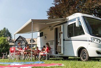 Fiamma F70 Awning 450cm, White Case with a Royal Grey Canopy