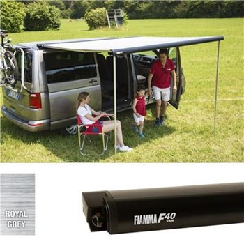 Fiamma F40 VW T6 awning, 270cm - Black case with a grey canopy