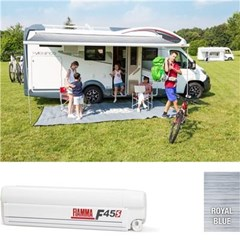 Fiamma F45 S awning. 350cm - White case with a Royal Blue canopy
