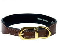 Hartman & Rose Italian Leather Dog Collar - Rich Brown & Gold