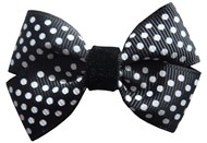 Black & White Dot Hair Bows Large (4 Pack)