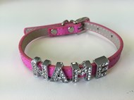 Plain Leather with Crystal Buckle Dog Collar (Pink)