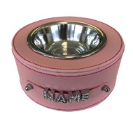 Personalised Faux Leather Pet Bowl - Light Pink