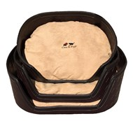 Woven PU Leather & Sensuede Pet Bed - Brown