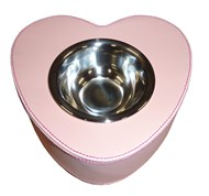 Faux Leather Heart Shaped Pet Bowl (Light Pink)