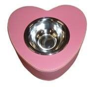 Faux Leather Heart Shaped Pet Bowl (Dark Pink)