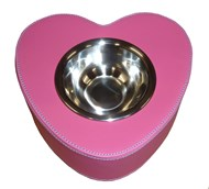 Faux Leather Heart Shaped Pet Bowl (Hepatic)