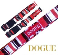 DOGUE Striped Canvas Dog Collar - Red