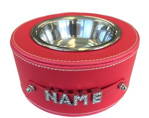 Personalised Faux Leather Pet Bowl - Red