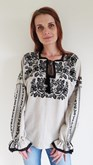 Ladies Long Sleeve Embroidered Blouse Antique Roses