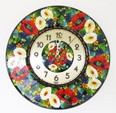 Hand Painted Clock Poppies and Gerberas