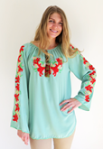 Ladies long sleeve blouse Tiger Lilies on Green various sizes
