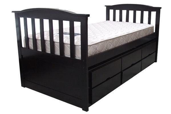 Trundle single bed choc with drawers for Small single bed with drawers