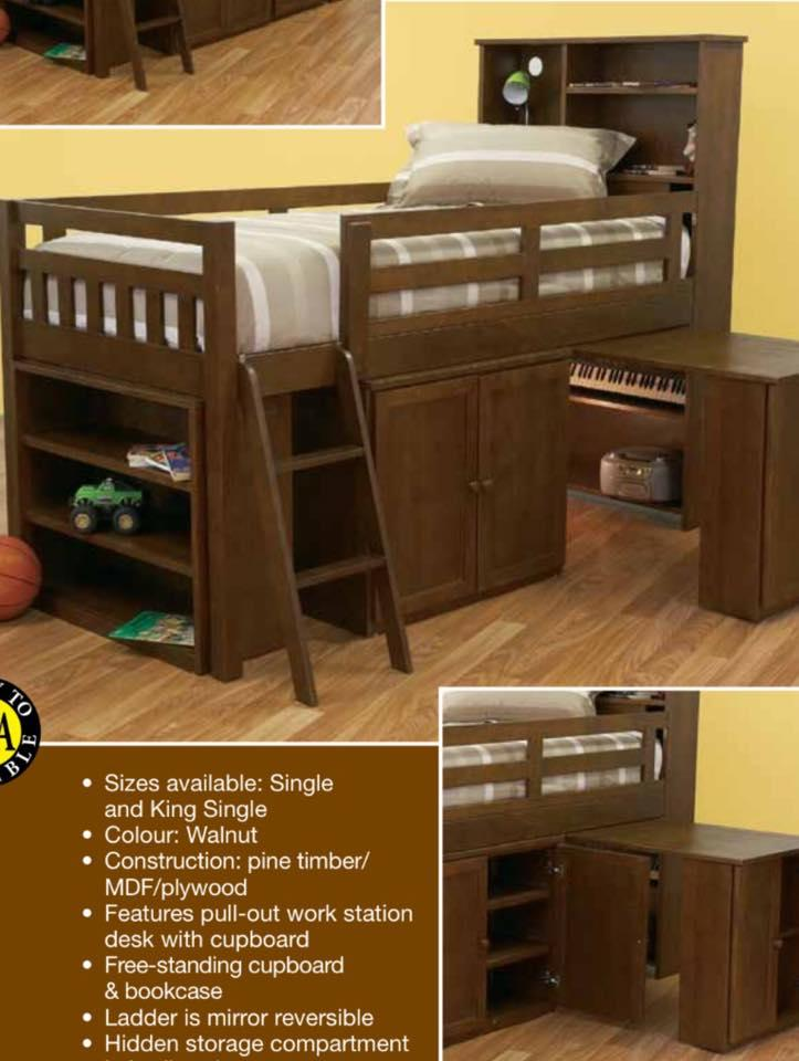 King Single Cabin Bed In Walnut Stain Pullout Desk New In