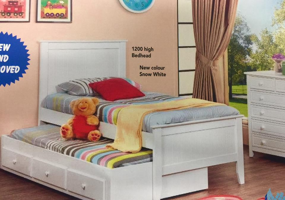 Trundle king single bed white with drawers bargain save for Single bed with drawers and mattress