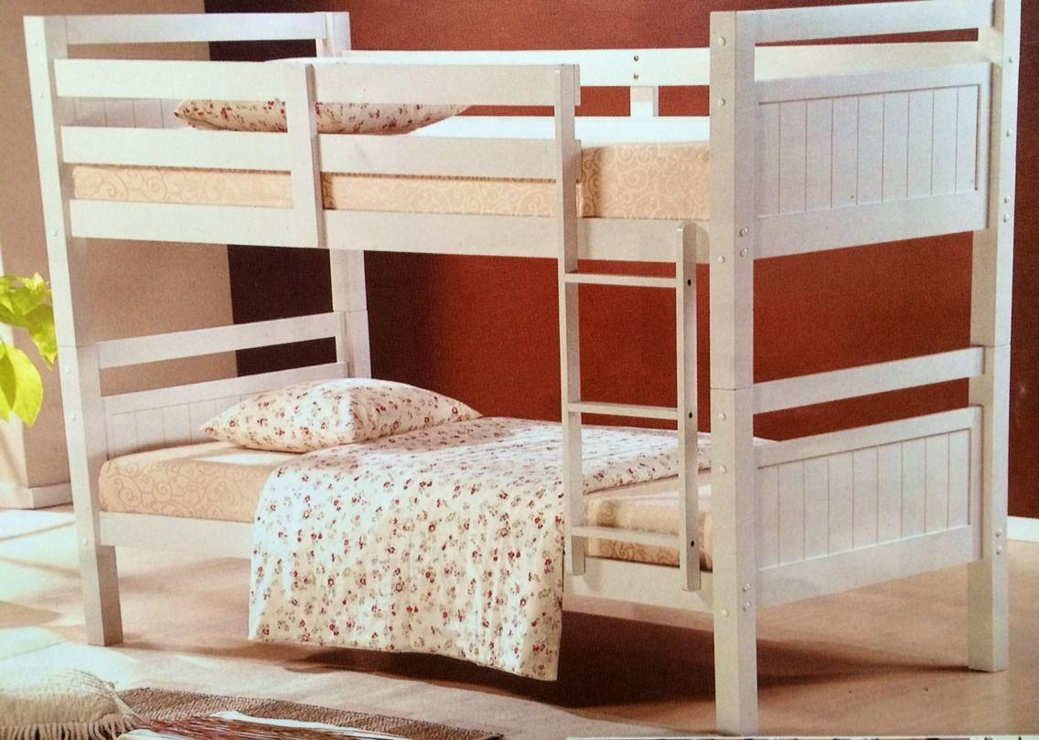 Bunk bed king single solid white solid bunk new for Single bunk bed
