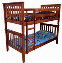 King single bunk in a/oak or white hardwood timber slats LIMITED STOCK