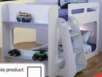 single lowline bunk white with blue and pink CLEARANCE PRICE