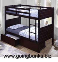 Bunk bed single With Drawers SOLID choc or white Blue NEW Design