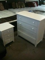 Bedside 3 drawers white