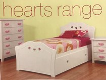 single bed with trundle Hearts white NEW DESIGN