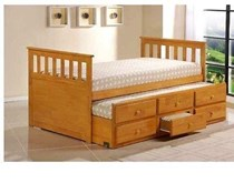 Trundle King Single bed WHITE OR honey with drawers