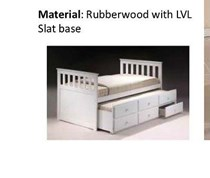 Trundle  Single bed WHITE OR  honey with drawers