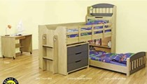 loft bunk 2 x beds with desk and storage oak / charcoal NEW DESIGN