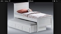 Trundle King Single bed white  with drawers with matts